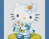 Blue Hello Kitty Holding Daisies Counted Cross Stitch Pattern in PDF for Instant Download
