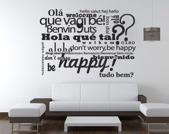 Welcome in Different Languages Wall Sticker - Welcome Decal  - Office and Home Decor