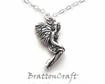 Fairy Necklace - Silver Fairy Necklace - Monarch Winged Fairy - Fairy Jewelry - Epsteam