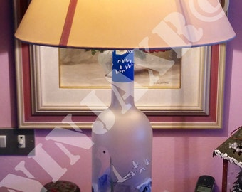 Lamp Bottle empty glass Vodka Grey Goose Jeroboam 3 Liters gift idea recycled upcycle man cave design furniture lampshade light