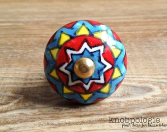 "1.25"" Southwest Red Yellow Blue White and Black Geometric Ceramic Knob Drawer Pull - Tuscan Cabinet Kitchen Decor - Tribal Inspired Decor"