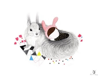 "Art print ""The Furry Squirrel""-Whimsical-Illustration-children"