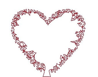 Heart Tree Machine Embroidery Design Pattern Redwork, Valentines for Pillow, Tote, Tea Cozy, Mug Rug