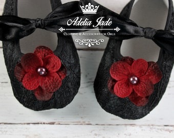 Black Baby Shoes, Soft Sole Baby Shoes, Black Lace Baby Shoes, Crib Shoes, Burgundy Flower Baby Girl Shoes, Infant Shoes, Newborn Girl Shoes