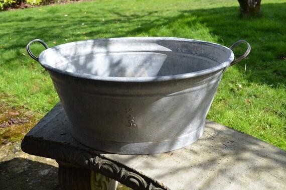 Vintage Antique Galvanized Metal Wash Basin Vintage Wash Tub