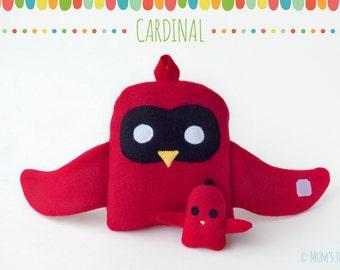 Cardinal plush toy set—hugging large and small bird stuffed animals
