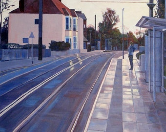 """A New Day, Giclée print Print 20X24"""", from a Painting in Acrylic of a tram stop at sunrise"""