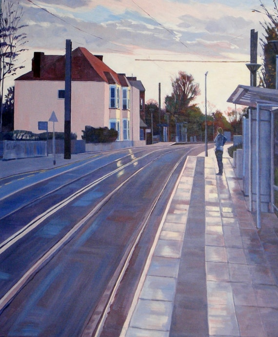 "A New Day, Giclée print Print 20X24"", from a Painting in Acrylic of a tram stop at sunrise"