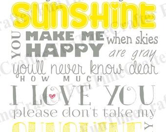 You are my Sunshine Subway Art ~Nursery Art Wall Hanging Inspirational & Motivational Art Print Digital Instant download