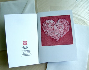 1 Art Card-Greeting card-heart-butterflies-inside empty-to Mother's Day-wedding-Birthday, card-size a 6