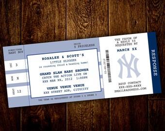 NY Yankee's Little Slugger Baseball Baby Shower Invitation & Favor Tags – Printable, Digital File – DIY