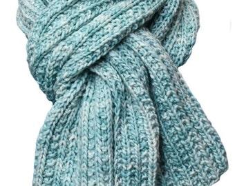 Hand Knit Scarf - Mint Green Trail Ridge Rib Wool