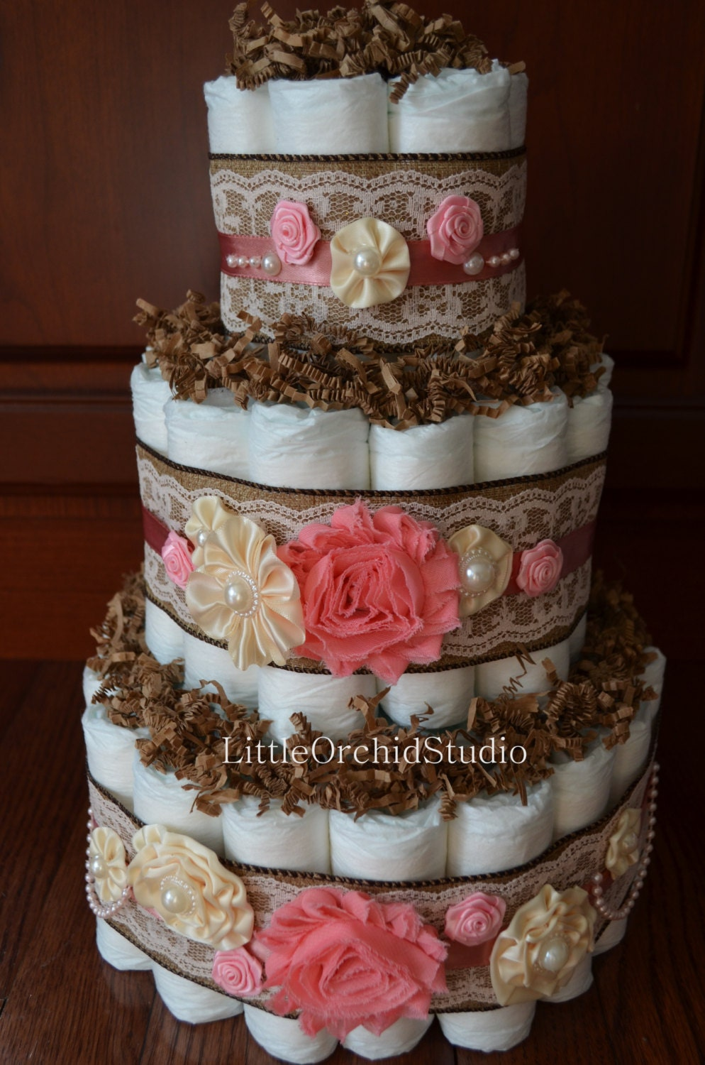 Shabby chic diaper cake burlap and lace by littleorchidstudio