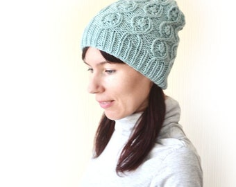 Knit hat beanie Gifts for wife Slouchy beanie woman Cable knit hat Knitted hat Wool hat Hand knit hat Woman beanie hat Lace hat Winter hat