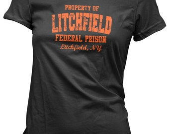 Litchfield Federal Prison Orange Womens Girls Black T-Shirt - Fitted Slim Fit Tee