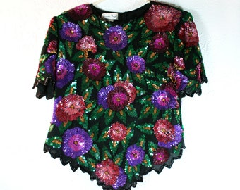 1980s LAURENCE KAZAR Ny Sparkly Sequin Glamorous Silk Blouse
