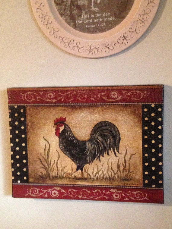 Vintage rooster french country kitchen home by lonestarlucy - Rooster wall decor kitchen ...