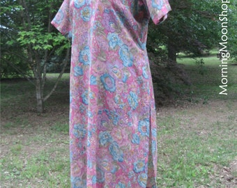 SHEER TUNIC TOP, sheer dress, Vintage Boho Hippie Festival Wear, India Floral print, High Side Slits, purple aqua blue, gypsy grunge Stevie