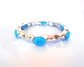 Valentine's Day Sale! Hammered Sterling Silver Turquoise Bangle Bracelet.