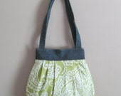 Handmade Over the Shoulder Pleated Handbag, Medium Green and White