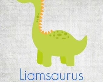 Personalized Dinosaur Wall Art - Printable Digital Download - Kid's Room / Baby Nursery