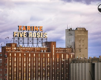 Montreal Farine Five Roses Print, Montreal Iconic, Urban photo, Architecture, modern