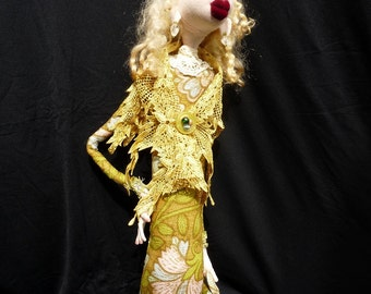 "Cloth Art Doll ""Phoebe"" OOAK"