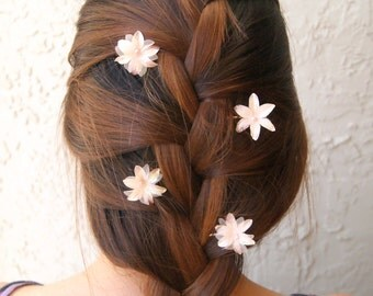 Pink Flower Bobby Pins, Flower Hair Pins, Bridal Hair Accessories, Bridesmaid Accessories, Children Flower Hair Clips, Boho Accessory