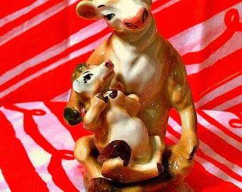 Ceramic Arts: Vintage Cow and Calf Salt and Pepper Shakers