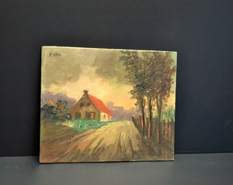 Vintage Oil on Board Stormy Country Scene by F. VAL