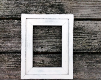 Distressed White Picture Frame 5x7. Solid Wood 5x7 Frame, Handmade and Distressed. Fits a 5x7 Photo. Layered White Distressed Picture Frame.