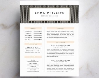 professional resume template and cover letter template for word diy digital download the emma - Professional Resume Cover Letter Template