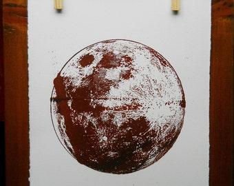 Full Moon screenprint | Rust variation 2 | vintage