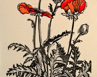 Three Poppies, Woodblock Print