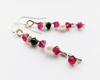 Pink freshwater pearl drop earrings pink pearl drop earrings crystal and pearl drop earrings pink swarovski crystal drop earrings