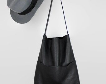 black leather shopper, leather tote bag, everyday bag, market bag, leather shoulder bag, leather tote, hobo