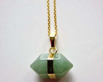 Semi Precious Prism Jade Pendant on Gold Fine Chain Necklace