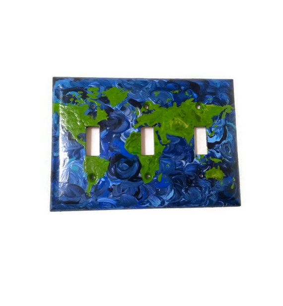 Map Light Switch World Map Hand Painted By