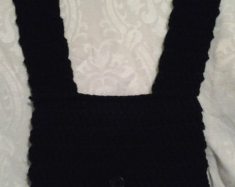 Crochet Purse - Shoulder Bag - Cotton Lined with Button Closure - Ladies - Girls - Teens - Black - Acrylic