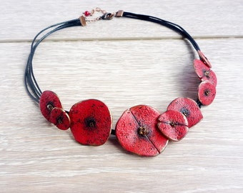 Poppy Necklace, Red Floral Necklace, Stylised Poppy, Art Poppy Necklace, Red Poppy Accessory, Poppy wedding Casual necklace Black and red