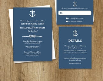 Nautical Wedding Invitation Set, Wedding Suite ... Timeless, Classic, and Elegant ▷ Printed Wedding Invitations {or} Printable