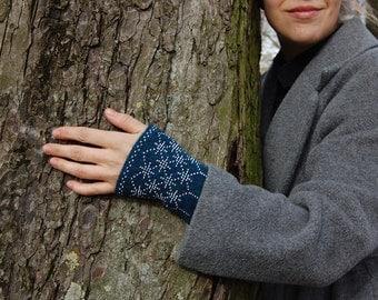 Hand knitted beaded wrist warmers, colour aquamarine