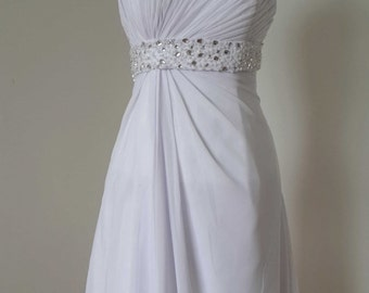Strapless White Chiffon Short Bridesmaid Dress with Beaded Band