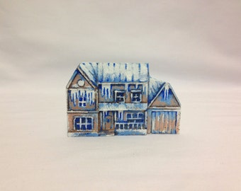 Miniature Ceramic House for Terrariums, Magnet. Brown, White, Blue
