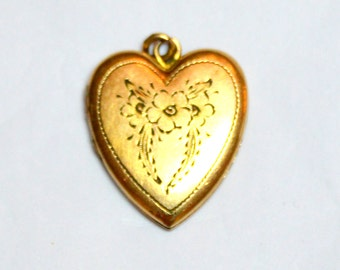 On Sale! Vintage 1940's Gold Filled Floral Heart Locket***ON SALE***