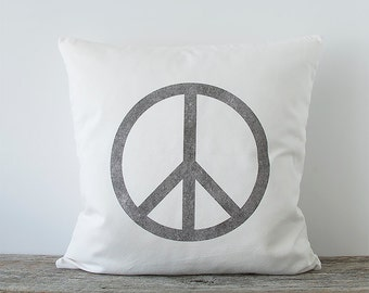 Peace Sign Decorative Throw Pillow Cover, Peace Sign, Accent Pillow, Home Decor Accessory, Black & White, Cotton Canvas