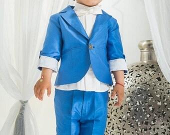 Formal Boy Suit Blue Amir, Children Groomsman Suit, First Birthday Suit, Summer Suit for Boys, Bow Tie Suit For Boys