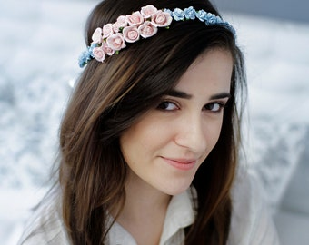 Floral Crown Flower Wedding Headband Bridal Bridal Floral Headpiece