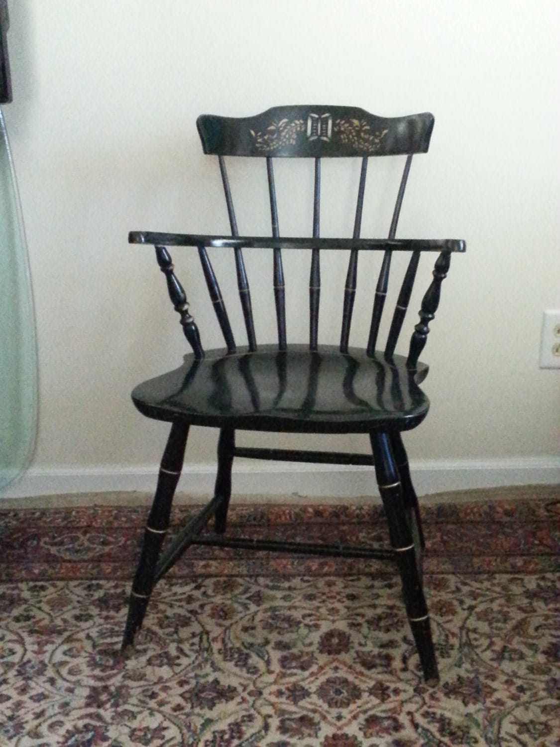 Nichols Stone Hitchcock Windsor Chair Signed Dining Arm