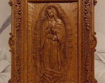 Our Lady of Guadalupe Wood carving catholic icon  Virgin Mary Gift ideas for women Gifts for mom Christmas gifts FREE SHIPPING